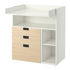 STUVA Changing table with 3 drawers, white, birch effect white/birch effect 90x79x102 cm