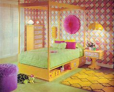 gold country girls: Bright And Colorful 70's Bedrooms Featuring Drexel Furnishings