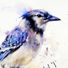 blue jay orig watercolor - dean crouser