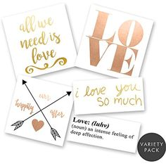 LOVE IS IN THE AIR VARIETY PACK Flash Tattoos set of 25 assorted premium waterproof metallic gold, silver, white, rose gold jewelry temporary foil party tattoos - party supplies ** Click image for more details. (This is an affiliate link and I receive a commission for the sales) #TemporaryTattoos