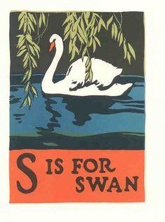 """S is for Swan - From """"Book of ABC's"""" by C. B. Falls (1923, United States)"""