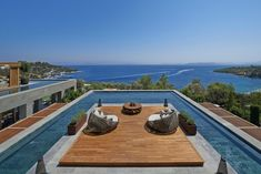 This rooftop sun-deck and pool can be found at the Mandarin Oriental Hotel in Bodrum, Turkey.