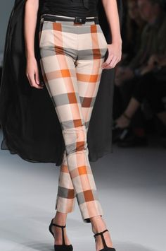 """Chic Tan, Burnt Orange & Gray Plaid #women Slacks ~ Daks Spring Summer 2014 #fashion"""