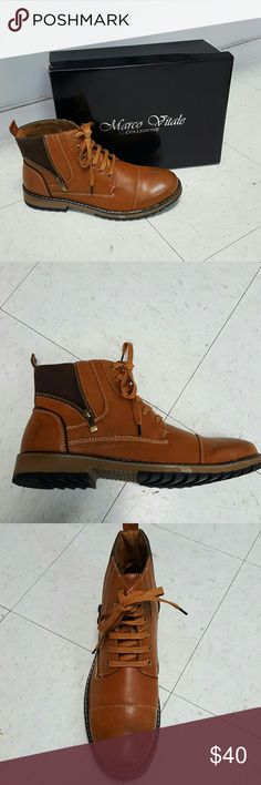Mens tan laceup boot Mens tan laceup boot with open zipper design size 12 Marco Vitale Collezione Shoes Boots