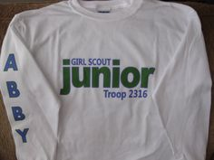 Personalized GIRL SCOUT JUNIOR Long Sleeve T-Shirt. $13.00, via Etsy.