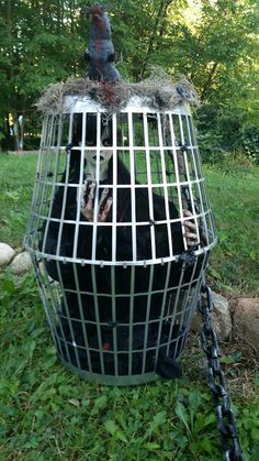 Halloween cage decoration.  The cage is made from dollar store laundry baskets.