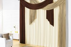 burnt orange panels(backdrop), teal sheer, white sheer, solid brown curtain used for valence design Home Curtains, Hanging Curtains, Curtains With Blinds, Valance, Curtain Styles, Curtain Designs, Curtain Ideas, Patio Door Coverings, Rideaux Design