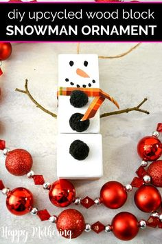 Do you have wood blocks lying around the house from when your kids were little? Put them to good use with this easy homemade Upcycled Wood Blocks Snowman Christmas Tree Ornament craft. It's a fun DIY that makes a wonderful handmade gift idea. Snowman Christmas Decorations, Christmas Ornament Crafts, Snowman Ornaments, Handmade Christmas, Holiday Crafts, Holiday Ideas, Christmas Ideas, Wood Snowman, Snowman Crafts