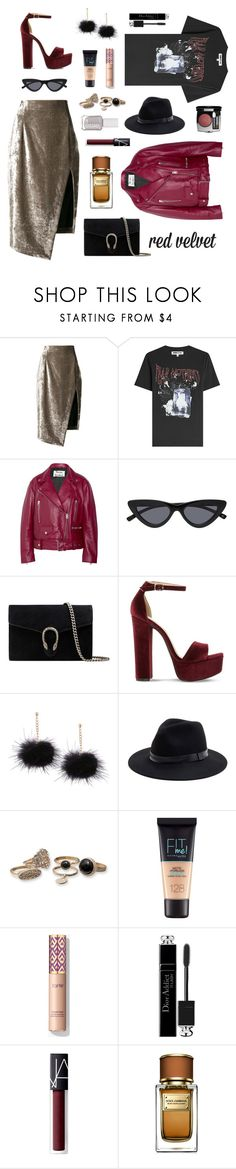 """Red Velvet"" by ravenclaw-phoenix on Polyvore featuring Off-White, McQ by Alexander McQueen, Acne Studios, Gucci, Steve Madden, Sole Society, Maybelline, Christian Dior, NARS Cosmetics and Dolce&Gabbana"