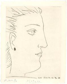 Pablo Picasso (Spain 1881-1973), Profil de femme, undeburred burin on copper plate, proof on laid paper, 1944. Musée national Picasso, Paris.