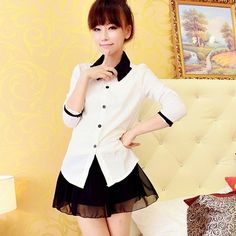Korean Fashion Overlapped Collar Long Sleeve Loose T Shirt Tops Blouses H168 | eBay