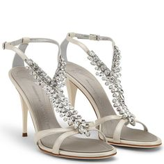 Giuseppe Zanotti CHOKER Ice White Nappa Leather Sandal.