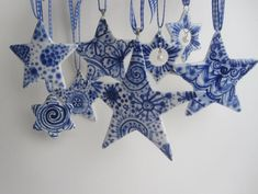 Hand-Painted Blue and White Porcelain Star Ornaments