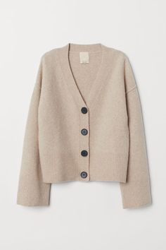 H&M Wool-blend Cardigan - Beige Beige Outfit, Simple Outfits, Casual Outfits, Fashion Outfits, Womens Fashion, Cardigan Beige, Sweater Cardigan, Look Zara, Cardigan En Maille