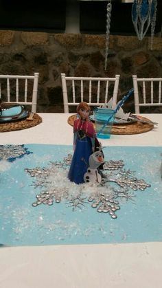 Anna y olaf,detalles de la mesa infantil. Otro éxito de Glitter pretty party.