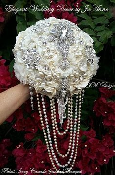 Custom Jeweled Wedding Bouquet Cascading Pearl Brooch Ivory And Silver Keepsake Deposit Only