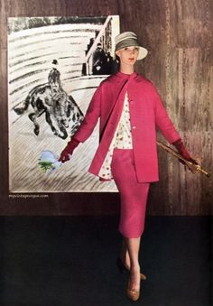 Harper's Bazaar March 1955, Photo by Louise Dahl-Wolf - Evelyn Tripp (Note the flash of polka-dots)