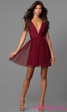 Image of wine red deep v-neck short open-back party dress. Style c565acf3b