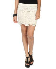 Wet Seal Crochet Lace Bodycon Skirt