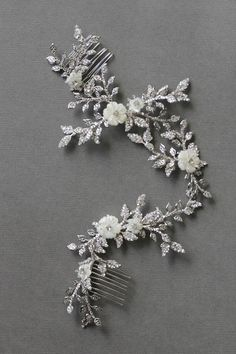 BESPOKE for Tracey_Anais silver bridal hair vine with flower details | TANIA MARAS