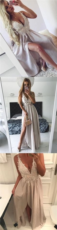 Sexy Prom Dresses with Slit Appliques Long Prom Dress/Evening Dress JKS116
