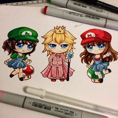 New super chibis of genderbent Super Mario characters~ Luigi, Prince Peach and Mario! =D These were so fun to draw~ #paigeeworld #copic #chibi #copicmarker #nintendo #supermario #genderbend #mario #princesspeach #luigi #fanart #kawaii #kawaiichibi #nintendofanart