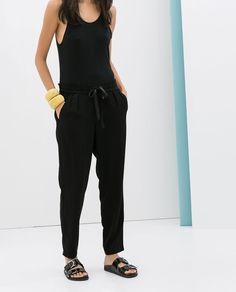 Image 1 of DRAWSTRING LOOSE FIT TROUSERS from Zara