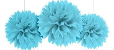Caribbean Blue Fluffy Decoration 16in 3ct - Party City Canada