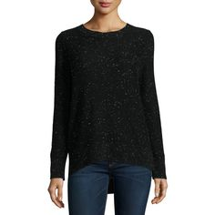 Rag & Bone Tamara Melange Cashmere Sweater ($395) ❤ liked on Polyvore featuring tops, sweaters, black, women's apparel sweaters, crewneck sweaters, crew sweater, crew neck pullover sweater, long sleeve crew neck sweater and cashmere sweater