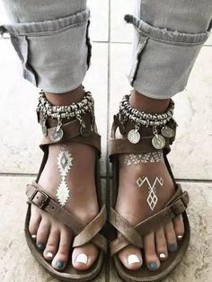 Big Size Summer Sandals With Pendant