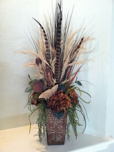 Natural Feather Pod & Hydrangea Faux Floral by GreatwoodFlorals