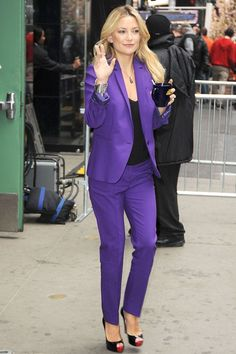 Kate Hudson wore a purple Michael Kors suit and Christian Louboutin heels for an appearance on Good Morning America in New York.