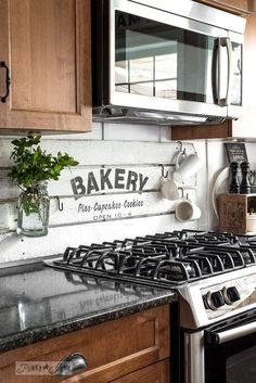 Kitchen Decor fake it till ya make it with a shiplap styled bakery sign, how to, kitchen backsplash, kitchen design, painting - You might want to redo every wall in your home after you see these - Gorgeous! Kitchen Flooring, Kitchen Backsplash, Kitchen Cabinets, Backsplash Ideas, Rustic Backsplash, Backsplash Marble, Backsplash Design, Beadboard Backsplash, Herringbone Backsplash