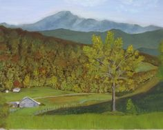 "Barn beneath Mt. Mitchell, Burnsville, NC oil on canvas, 16"" x 20"", 2014, in the collection of Alan and Susan Escovitz."