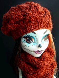 Monster high dolls clothing set - brown knitted hat and scarf #Etsy #Share #EtsyShop Shared by #BaliTribalJewelry http://etsy.me/1sDZ302