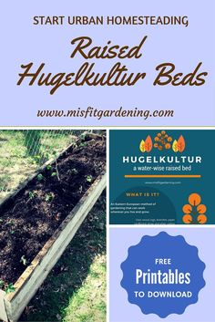 Start urban homesteading by making raised Hugelkultur beds, how to get the benefits of hugelkultur without upsetting the neighbors! Click through for free access to the Misfit Gardening Urban Homesteading Resource Library and free printables. Organic Mulch, Organic Gardening Tips, Sustainable Gardening, Planting Vegetables, Organic Vegetables, Vegetable Gardening, Container Gardening, Garden Soil, Garden Beds