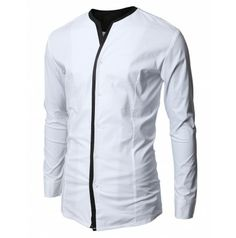Mens Collarless Layered Dress Shirts (White)