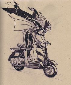 Batgirl on a scooter by Ted Naifeh