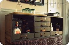 Love this dry bar made from a filing cabinet.