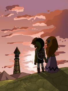 Watch Over This Land by aquanut on deviantART | The Legend of Zelda: Spirit Tracks, Toon Link and Toon Princess Zelda
