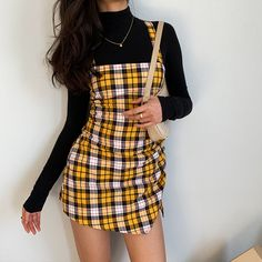 Yellow plaid cross strap strap dress from FE CLOTHING - Fashion Outfits Plaid Outfits, Retro Outfits, Stylish Outfits, Fall Outfits, Vintage Outfits, Yellow Outfits, Plaid Dress, Yellow Clothes, Swag Dress
