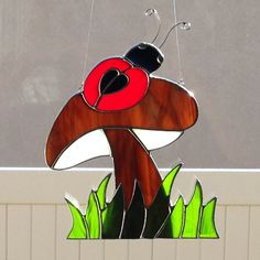Stained Glass Red Ladybug on Mushroom by FoxStainedGlass on Etsy