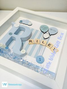 Baby Boy birth / child initial box frame New Baby Nursery decor freestanding or wall hung personalised handmade & unique Christening - Choosing A Baby Name - ideas of Choosing A Baby Name - Naissance garçon pour bébé / enfant initiale boite cadre Scrabble Crafts, Scrabble Frame, Box Frame Art, White Box Frame, Coloring For Boys, Baby Frame, Baby Box Frame Ideas, Baby Nursery Decor, Girl Nursery