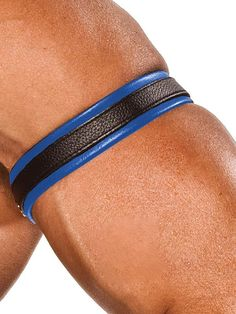 1 Piece Blue Piping Leather Armband Genuine Real Leather Arm Bands Bicep New