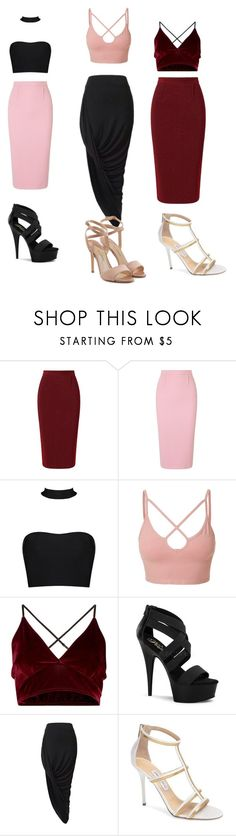 """""""Girls night out"""" by simple-life4437 on Polyvore featuring Roland Mouret, LE3NO, Pleaser, Jimmy Choo and Paul Andrew"""