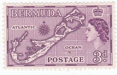 1950s Bermuda 3d 3 Cent Queen Elizabeth Postage Stamp by onetime, $0.45