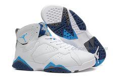 b55af1cf837b Girls Air Jordan 7 GS White French Blue-University Blue-Flint Grey For  Womens