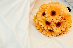 Yellow gerber daisy bridal bouquet