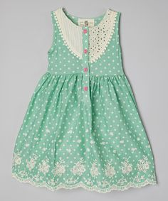 Love this Poco & Picotine Green Dot Lace-Trim Dress - Girls by Poco & Picotine on #zulily! #zulilyfinds