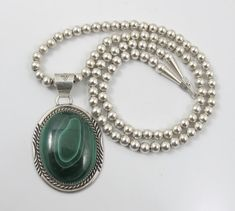 Navajo Helen Long Malachite Necklace Sterling by TonettesTreasures
